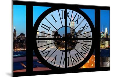 Giant Clock Window - View on the New York Skyline at Dusk II-Philippe Hugonnard-Mounted Photographic Print
