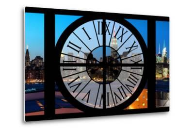 Giant Clock Window - View on the New York Skyline at Dusk II-Philippe Hugonnard-Metal Print