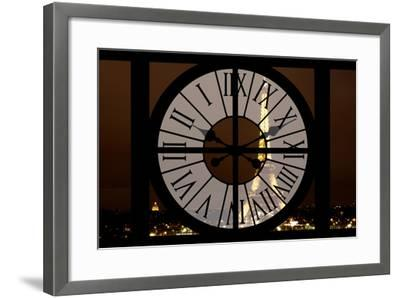 Giant Clock Window - View of the Eiffel Tower by Night - Paris II-Philippe Hugonnard-Framed Photographic Print