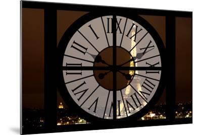 Giant Clock Window - View of the Eiffel Tower by Night - Paris II-Philippe Hugonnard-Mounted Photographic Print