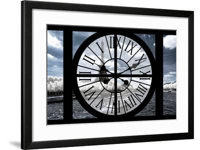Giant Clock Window - View of the Eiffel Tower and River Seine with White Trees-Philippe Hugonnard-Framed Photographic Print