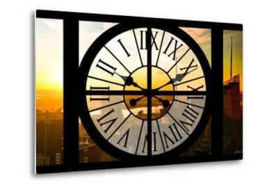 Giant Clock Window - View on the New York City - Beautiful Sunset II-Philippe Hugonnard-Metal Print