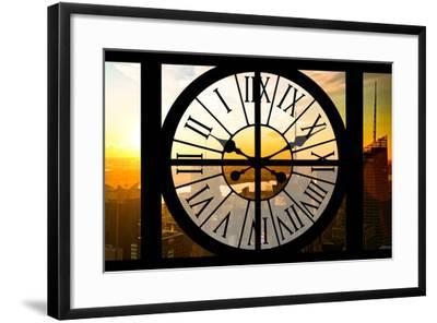 Giant Clock Window - View on the New York City - Beautiful Sunset II-Philippe Hugonnard-Framed Photographic Print