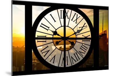 Giant Clock Window - View on the New York City - Beautiful Sunset II-Philippe Hugonnard-Mounted Photographic Print
