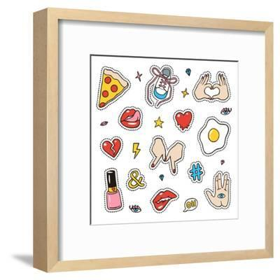 Set of Fashion Sketchy Patches. Different Trendy Badges and Pins. Oldschool Vector Pictograms in Li-More Trendy Design here-Framed Art Print