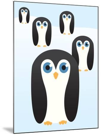 Penguin Cute Cartoon-pelonmaker-Mounted Art Print