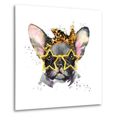 French Bulldog. Cute Puppy Dog. Watercolor Puppy Dog Illustration. French Bulldog Breed. Unusual Il-Fayankova Alena-Metal Print