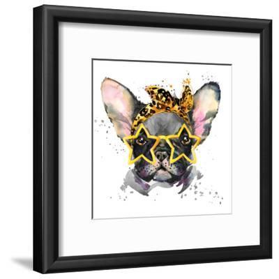 French Bulldog. Cute Puppy Dog. Watercolor Puppy Dog Illustration. French Bulldog Breed. Unusual Il-Fayankova Alena-Framed Premium Giclee Print