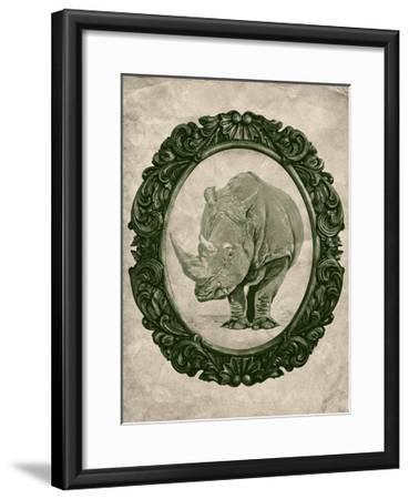 Framed Rhinoceros in Evergreen-THE Studio-Framed Premium Giclee Print