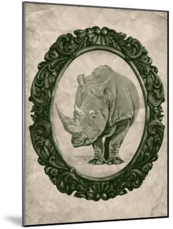 Framed Rhinoceros in Evergreen-THE Studio-Mounted Premium Giclee Print