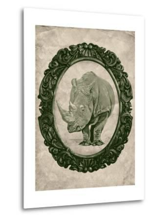 Framed Rhinoceros in Evergreen-THE Studio-Metal Print