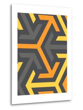 Monochrome Patterns 8 in Yellow-Natasha Marie-Metal Print
