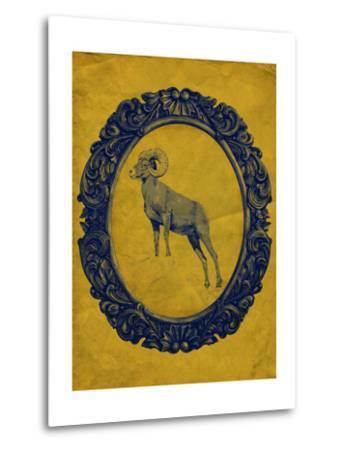 Framed Bighorn Sheep in Yellow-THE Studio-Metal Print