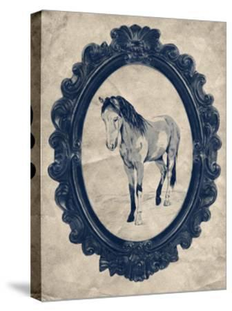 Framed Paint Horse in Navy-THE Studio-Stretched Canvas Print