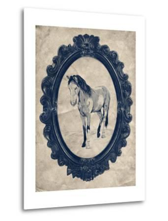 Framed Paint Horse in Navy-THE Studio-Metal Print