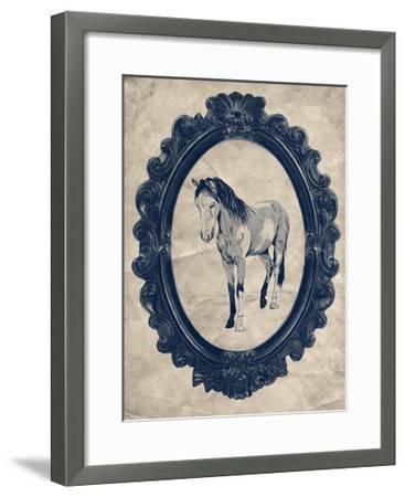 Framed Paint Horse in Navy-THE Studio-Framed Premium Giclee Print