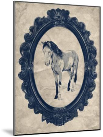 Framed Paint Horse in Navy-THE Studio-Mounted Premium Giclee Print