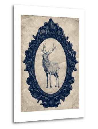 Framed Elk in Navy-THE Studio-Metal Print