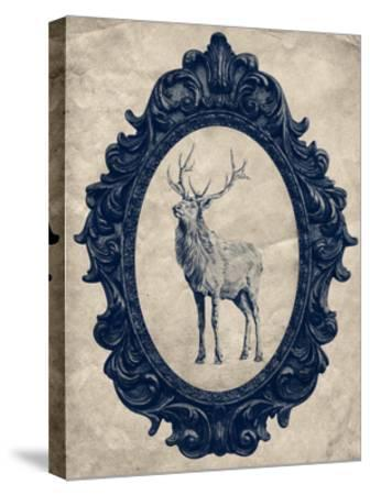 Framed Elk in Navy-THE Studio-Stretched Canvas Print