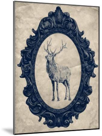 Framed Elk in Navy-THE Studio-Mounted Premium Giclee Print