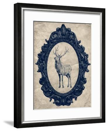 Framed Elk in Navy-THE Studio-Framed Premium Giclee Print