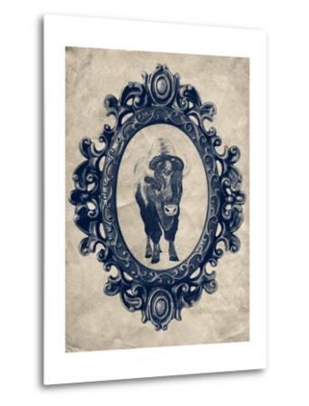 Framed Bison in Navy-THE Studio-Metal Print