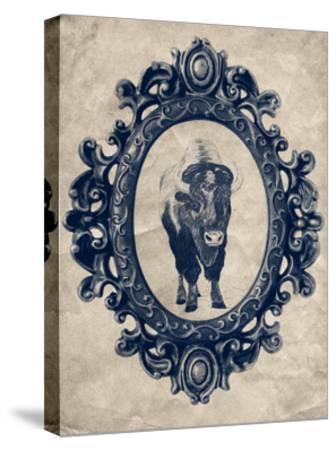 Framed Bison in Navy-THE Studio-Stretched Canvas Print