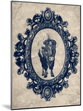 Framed Bison in Navy-THE Studio-Mounted Premium Giclee Print