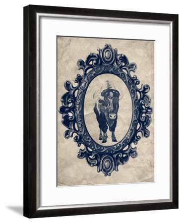 Framed Bison in Navy-THE Studio-Framed Premium Giclee Print