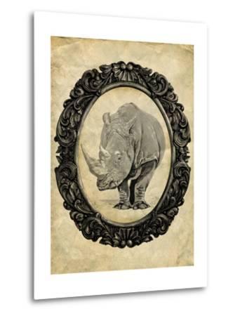 Framed Rhinoceros-THE Studio-Metal Print
