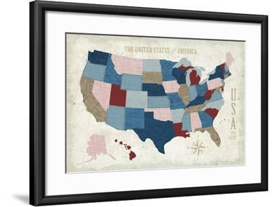 USA Modern Vintage Blue-Michael Mullan-Framed Art Print