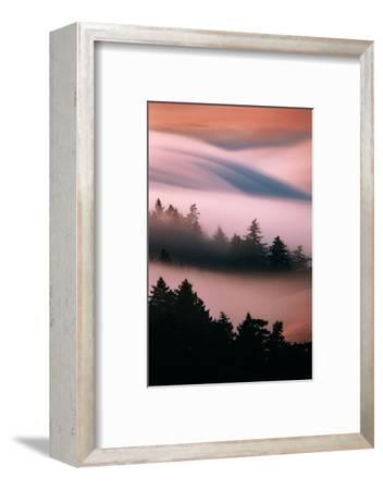 Pink Fog, Sunset Light and Flowing Fog from Pacific Ocean, San Francisco-Vincent James-Framed Photographic Print