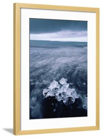 Ice Beach Fragment, Glacier Lagoon Midnight Beach Iceland-Vincent James-Framed Photographic Print