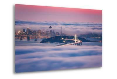 Fog City Dream, San Francisco Night Cityscape and Sunset Fog-Vincent James-Metal Print
