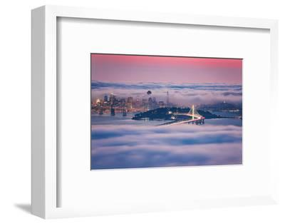 Fog City Dream, San Francisco Night Cityscape and Sunset Fog-Vincent James-Framed Photographic Print