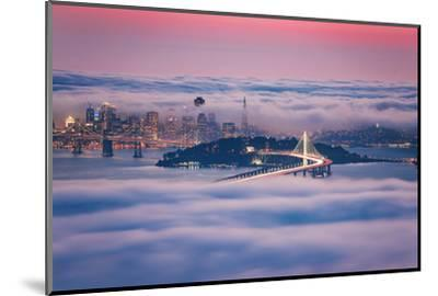 Fog City Dream, San Francisco Night Cityscape and Sunset Fog-Vincent James-Mounted Photographic Print