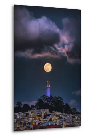 Full Moon Mood Coit Tower, San Francisco Iconic Travel-Vincent James-Metal Print