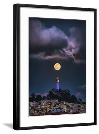 Full Moon Mood Coit Tower, San Francisco Iconic Travel-Vincent James-Framed Photographic Print