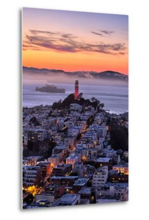 Classic Coit Tower After Sunset, San Francisco, Cityscape, Urban View-Vincent James-Metal Print