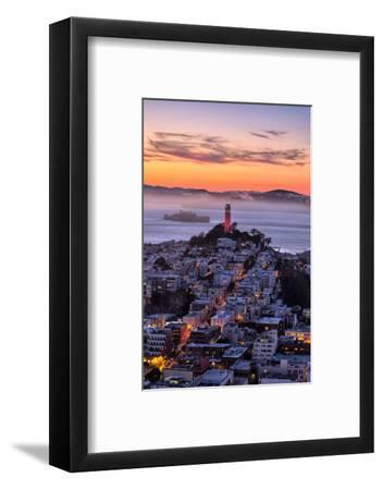 Classic Coit Tower After Sunset, San Francisco, Cityscape, Urban View-Vincent James-Framed Photographic Print