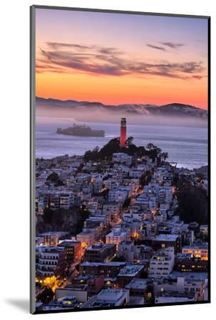 Classic Coit Tower After Sunset, San Francisco, Cityscape, Urban View-Vincent James-Mounted Photographic Print