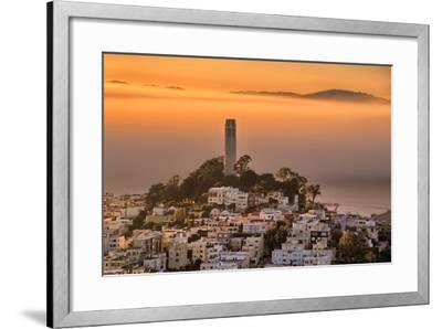 Coit Tower and Golden Fog Flow, San Francisco, Cityscape, Urban View-Vincent James-Framed Photographic Print