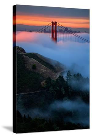 Dreamy Golden Sunrise and Fog, Golden Gate Bridge, San Francisco-Vincent James-Stretched Canvas Print