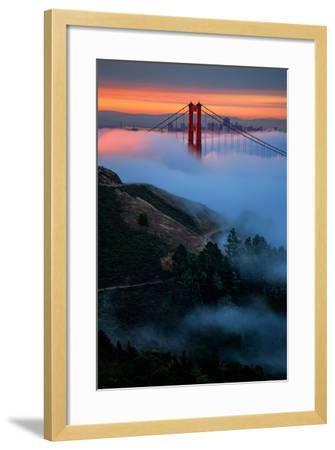Dreamy Golden Sunrise and Fog, Golden Gate Bridge, San Francisco-Vincent James-Framed Photographic Print