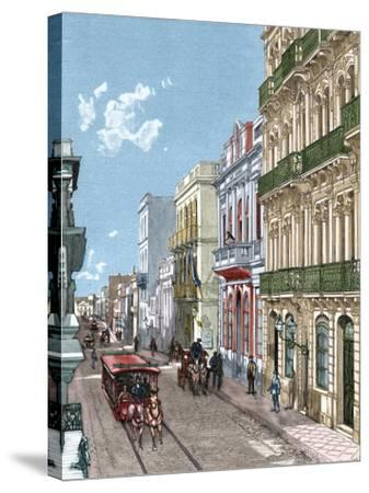 Uruguay, Montevideo, a City Street, Published in La Ilustración, 1887-A. Bertrand-Stretched Canvas Print