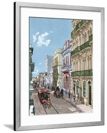 Uruguay, Montevideo, a City Street, Published in La Ilustración, 1887-A. Bertrand-Framed Giclee Print