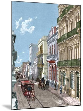 Uruguay, Montevideo, a City Street, Published in La Ilustración, 1887-A. Bertrand-Mounted Giclee Print