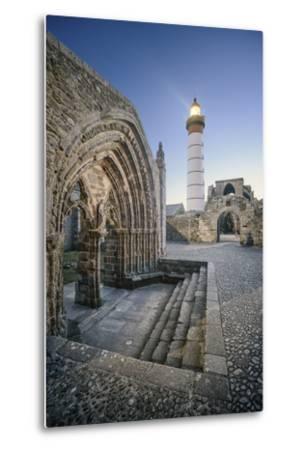 Bretagne, Phare Saint Mathieu Et Porche De L'Eglise Notre Dame De Grâce-Philippe Manguin-Metal Print