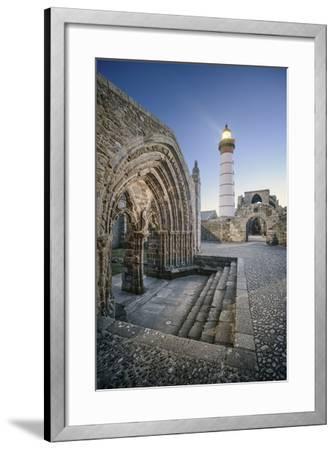 Bretagne, Phare Saint Mathieu Et Porche De L'Eglise Notre Dame De Grâce-Philippe Manguin-Framed Photographic Print