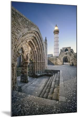 Bretagne, Phare Saint Mathieu Et Porche De L'Eglise Notre Dame De Grâce-Philippe Manguin-Mounted Photographic Print
